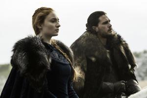 """Sophie Turner as Sansa Stark and Kit Harrington as Jon Snow in HBO's """"Game of Thrones."""""""