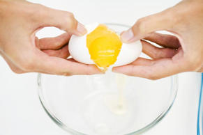 <p>Crack eggs on a flat surface, not the side of a bowl, to prevent eggshells fr...