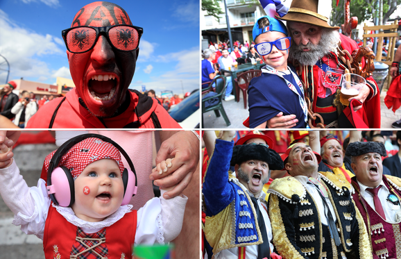 สไลด์ 1 จาก 27: The 2016 UEFA European Championship is underway with the winner getting a direct entry into the 2017 FIFA Cup and the competition is fierce. From those in face paint to complete national outfits to help cheering on their team - here are some of the very best fans at Euro 2016.