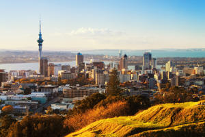 A view of Auckland city from Mt Eden, Auckland, New Zealand.