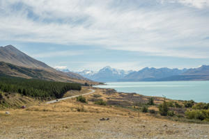 Mount Cook from lake Pukaki, snowcapped mountains
