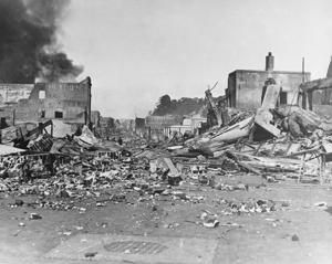 An earthquake series which rocked Napier, New Zealand, laid the city in waste and caused the deaths of 220 persons and injury to more than 1,500, Feb. 3, 1931. Emerson Street, one of the principal districts, along which every structure was destroyed. Gov