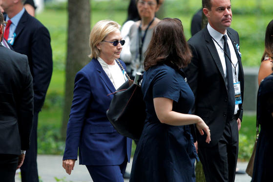 Democratic presidential candidate Hillary Clinton arrives for ceremonies to mark the 15th anniversary of the September 11 attacks at the National 9/11 Memorial in New York, September 11, 2016.