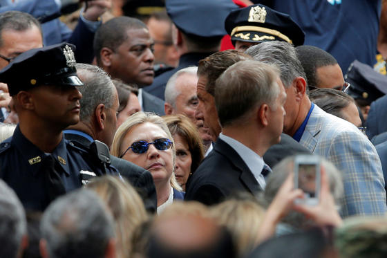 Democratic presidential candidate Hillary Clinton attends ceremonies to mark the 15th anniversary of the September 11 attacks.