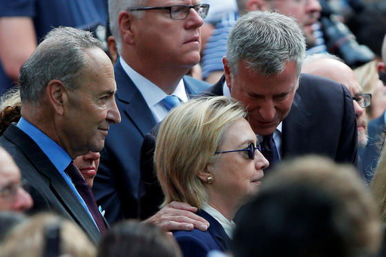 Democratic presidential candidate Hillary Clinton, New York Mayor Bill de Blasio and Senator Chuck Schumer attend ceremonies.