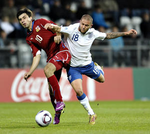Jan Moravek of Czech Republic (L) vies with Henri Lansbury of England (R) during the UEFA Under-21 European Championship group B footbhall match England vs Czech Republic at the Viborg Stadium, on June 19, 2011. Czech Republic won 2-1. AFP PHOTO/ SCANPIX/ HENNING BAGGER ***DENMARK OUT***Jan Moravek of Czech Republic (L) vies with Henri Lansbury of England (R) during the UEFA Under-21 European Championship group B footbhall match England vs Czech Republic at the Viborg Stadium, on June 19, 2011. Czech Republic won 2-1. AFP PHOTO/ SCANPIX/ HENNING BAGGER ***DENMARK OUT***