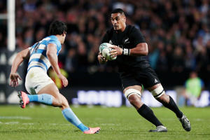 Jerome Kaino makes a run during the rugby Championship test against Argentina.