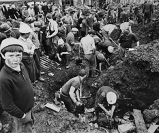 Rescue Scenes After The Mining Disaster In Aberfan Wales In 1966.