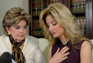 Summer Zervos, right, a former contestant on the TV show 'The Apprentice', with lawyer Gloria Allred while speaking about allegations of sexual misconduct against Donald Trump during a news conference in Los Angeles, Calif., on Oct. 14, 2016.