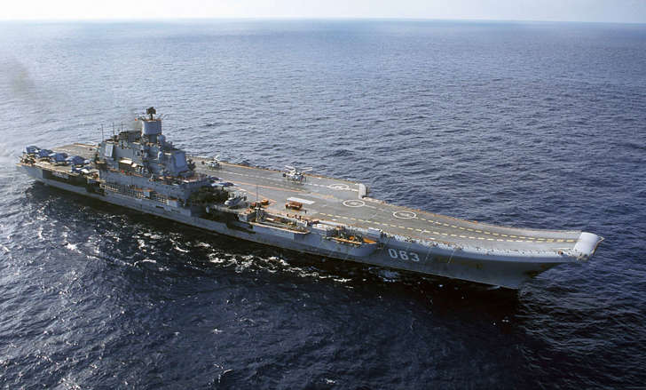 FILE - In this 2004 file photo the Admiral Kuznetsov carrier seen in the Barents Sea, Russia. Russian Defense Minister Sergei Shoigu said Wednesday, Sept. 21, 2016, that the navy will send its only aircraft carrier, the Admiral Kuznetsov, to the eastern Mediterranean to join other Russian ships deployed near the Syrian shores.