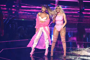 NEW YORK, NY - AUGUST 28:  Ariana Grande and Nicki Minaj perform onstage during the 2016 MTV Video Music Awards at Madison Square Garden on August 28, 2016 in New York City.  (Photo by Michael Loccisano/Getty Images)