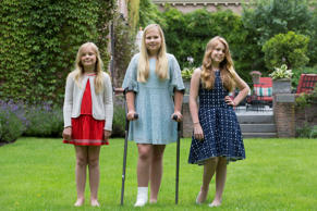 WASSENAAR, NETHERLANDS - JULY 8: (L-R) Princess Ariane, Crown Princess Catharina-Amalia and Princess Alexia of The Netherlands pose for pictures during the annual summer photo call at their residence Villa Eikenhorst on July 8, 2016 in Wassenaar, Netherl