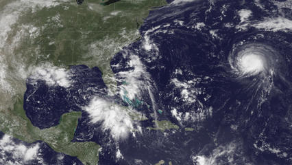 Satellite image of the Atlantic Ocean off the coast of the eastern US on August 29.