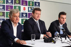 Gerry Ryan, Storm Non-Executive Chairman Bart Campbell and Matthew Tripp speak to the media.