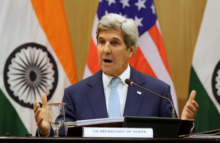 U.S. Secretary of State John Kerry, speaks at a joint news conference with Indian Foreign Minister Sushma Swaraj after conclusion of the second U.S.- India strategic dialogue in New Delhi, India, Tuesday, Aug.30, 2016.