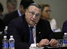 Maine Gov. Paul LePage speaks during a conference of New England's governors and eastern Canada's premiers to discuss closer regional collaboration, Monday, Aug. 29, 2016, in Boston.