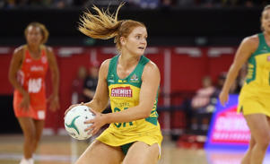 Stephanie Wood of the Diamonds brings the ball forward during the International Test match between the Australian Diamonds and England.