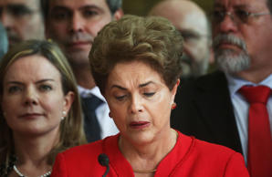 Impeached President Dilma Rousseff delivers her farewell address in Alvorado Palace on August 31, 2016 in Brasilia, Brazil. Rousseff was impeached by the Senate and is now permanently removed from office while being replaced by new President Michel Temer. (Photo by Mario Tama/Getty Images)