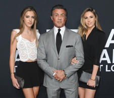 Saint Laurent at the Palladium, Arrivals, Fall 2016, Los Angeles, America - 10 Feb 2016 Sophia Rose Stallone, Sylvester Stallone and Sistine Rose Stallone