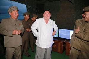 North Korean leader Kim Jong Un is pictured during a test-fire of strategic submarine-launched ballistic missile in this undated photo released by North Korea's Korean Central News Agency (KCNA) in Pyongyang August 25, 2016.