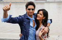 "Bollywood actors, Siddharth Malhotra, left, and Katrina Kaif, pose for photographs during a promotion of their upcoming film, ""Baar Baar Dekho"" in Ahmadabad, India, Monday, Aug. 29, 2016. (AP Photo/Ajit Solanki)"