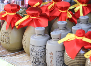 Huishan town on intangible cultural heritage,Ceramic bottle of soju.