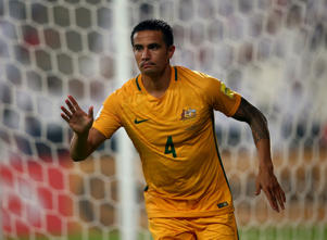 Tim Cahill of Australia celebrates after scoring his teams first goal during the 2018 FIFA World Cup Qualifier.