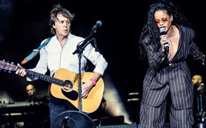 Paul McCartney (L) and Rihanna perform on Day 3 of Desert Trip Weekend 2 at the Empire Polo Field
