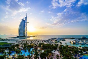 Burj Al Arab at sunset, Dubai.