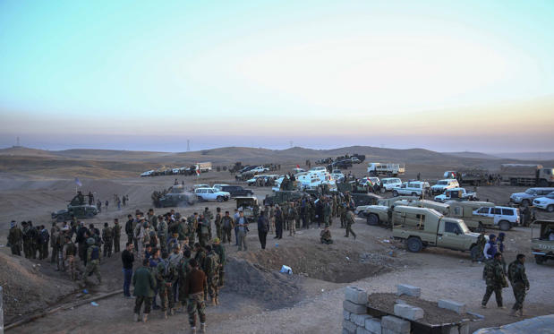 Peshmerga forces stand guard at Hazer region's Wardak village during an operation to retake Iraq's Mosul from Deash in Iraq on October 17, 2016. A much anticipated Mosul offensive to liberate the city from Daesh began midnight Sunday, according to Iraqi Prime Minister Haider al-Abadi.