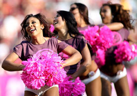 Washington Redskins cheerleaders perform during a match between the Washington Redskins and the Philadelphia Eagels at FedExField in Landover, Maryland.