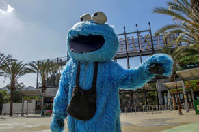 Adam Sandler, dressed up in a Cookie Monster costume, poses for photos on Sept. 22, 2016 outside of the Los Angeles Zoo.