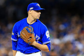 TORONTO, ON - OCTOBER 9: Aaron Sanchez #41 of the Toronto Blue Jays looks on prior to pitching against the Texas Rangers in the first inning during game three of the American League Division Series at Rogers Centre on October 9, 2016 in Toronto, Canada. (Photo by Vaughn Ridley/Getty Images)