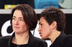 Janine Southby, coach of the Silver Ferns and assistant coach Yvette McCausland-Durie