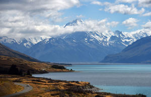 This file photo taken on Febraury 25, 2015 shows New Zealand's highest mountain Mount Cook- also known by it's Maori name of Aoraki - which sits in the Southern Alps on the South Island at a height of 3,724 metres (12,218 ft) and a scene reminiscence of the Lord of the Ring's trilogy.