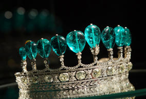 An emerald and diamond tiara is pictured on display at Sotheby's auction house in London, on May 4, 2011. The tiara composed of 11 Colombian pear-shaped emeralds and weighing over 500 carats, was created for Princess Katharina Henckel von Donnersmarck an