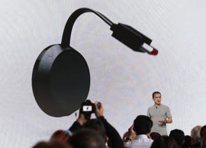 Mario Queiroz introduces the Google Chromecast Ultra streaming device during the presentation of new Google hardware in San Francisco, California, U.S. October 4, 2016.