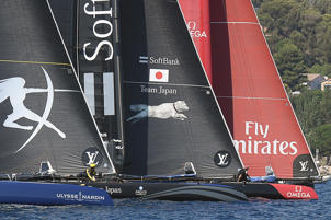 Team Japan and New Zealand compete during the second day of the Louis Vuitton America's Cup World series, offshore Toulon