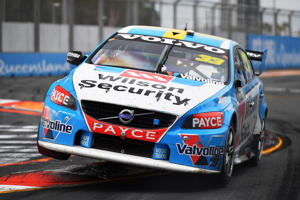 Scott McLaughlin drives the #33 Wilson Security Racing GRM Volvo S60 during race 22 of the Supercars Gold Coast 600