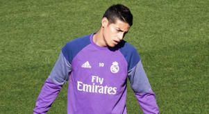 James, en un entrenamiento con el Real Madrid.