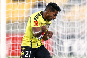 Roy Krishna of the Phoenix celebrates after scoring a goal during the round five A-League match between the Wellington Phoenix and the Newcastle Jets at Westpac Stadium on November 5, 2016 in Wellington, New Zealand.