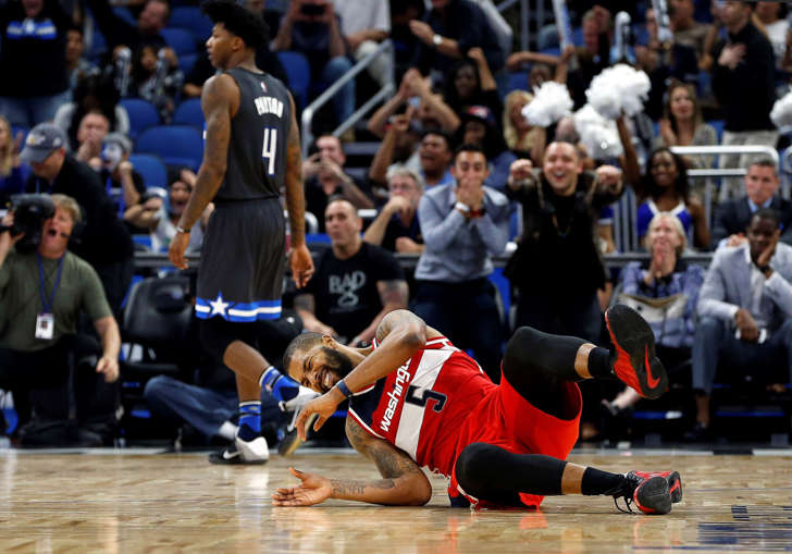 The Wizards' Markieff Morris reacts after he missed the game winning shot against the Magic in Orlando, FL. Magic defeated the Wizards 88-86.