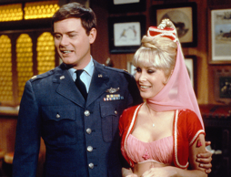 I DREAM OF JEANNIE -- Pictured: (l-r) Larry Hagman as Anthony 'Tony' Nelson, Barbara Eden as Jeannie (Photo by NBC/NBCU Photo Bank via Getty Images)