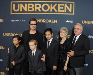 Actor Brad Pitt, kids Maddox Jolie-Pitt, Shiloh Jolie-Pitt, Pax Jolie-Pitt arrive at the Los Angeles premiere of 'Unbroken' at The Dolby Theatre on December 15, 2014