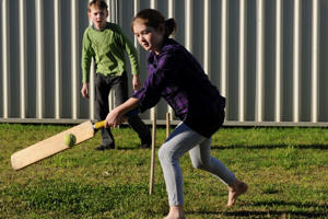 A representative image showing children playing cricket in their backyard.