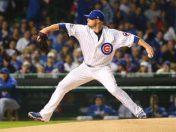 Chicago Cubs starting pitcher Jon Lester throws a pitch against the Los Angeles Dodgers in game one of the 2016 NLCS playoff baseball series at Wrigley Field.