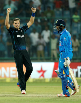 Tim Southee celebrates during the Black Caps win over India in the second ODI.