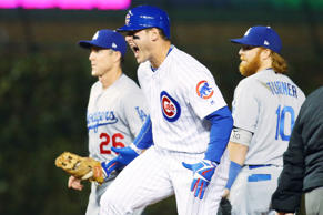 Chicago Cubs first baseman Anthony Rizzo #44 reacts after reaching second base on a single and an error against the Los Angeles Dodgers during the first inning of game six of the 2016 NLCS playoff baseball series at Wrigley Field on Oct. 22.