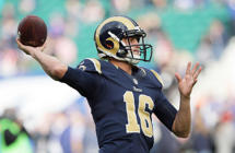 Los Angeles Rams quarterback Jared Goff (16) passes the ball during the warm-up before an NFL football game against New York Giants at Twickenham stadium in London, Sunday Oct. 23, 2016.