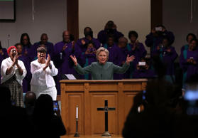 Democratic presidential nominee Hillary Clinton speaks as she attends church ser...